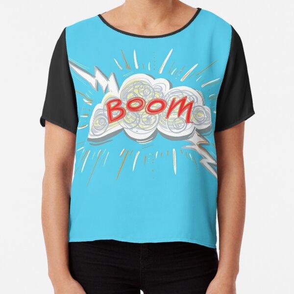 Boom Lightning Cloud on Blue Chiffon Top
