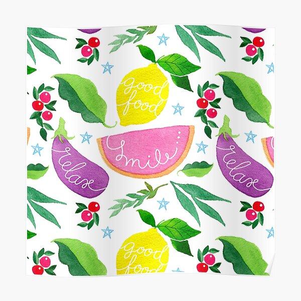 Smile relax lemon veggie modern sweet pattern Poster