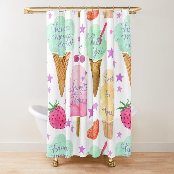 Pastel ice cream cheerful pattern Shower Curtain