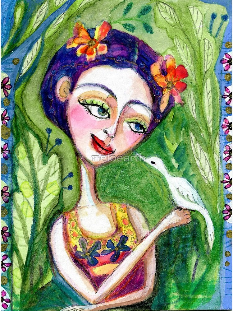 Frida Kahlo w/ Bird, Flowers and Foliage, Spring Floral, Meloearth by meloearth