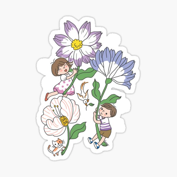 Merry girl and boy children playing cute whimsical art Sticker