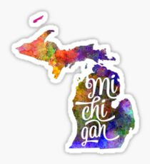 Michigan US State in watercolor text cut out Sticker