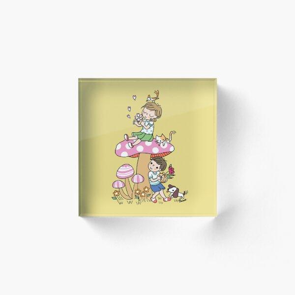 Girl and boy cute mushroom Acrylic Block
