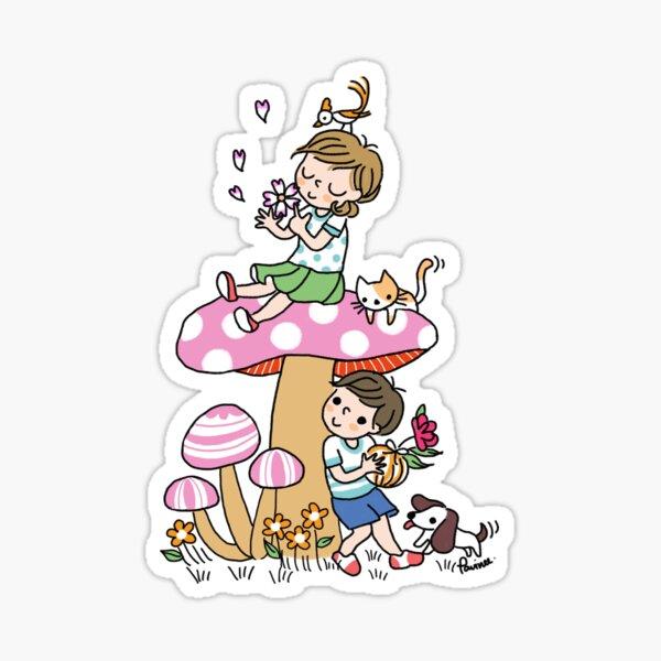 Girl and boy cute mushroom Sticker