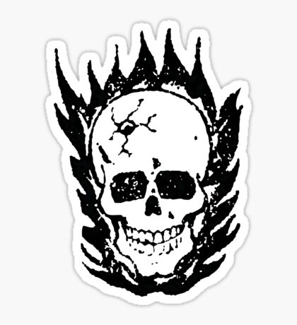 Cracked and Blazing Skull Sticker