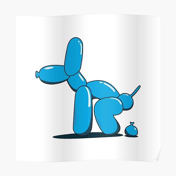Chien ballon caca (bleu) Poster