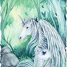 Emerald Green Forest Unicorn by meredithdillman