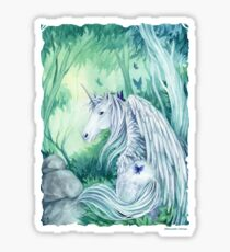Emerald Green Forest Unicorn Sticker