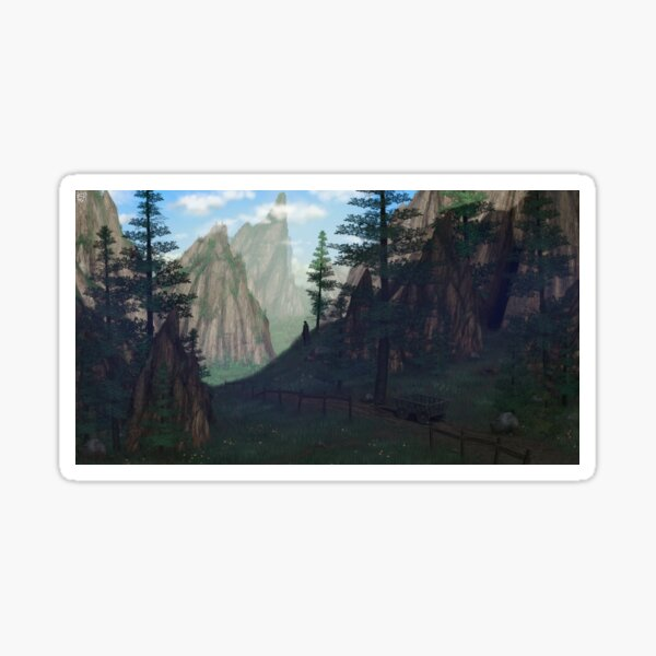 Adventure Journey Fantasy Roleplaying illustration with beautiful landscape Sticker