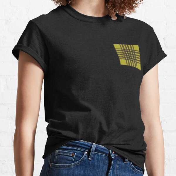 deco art Emblisshed check navy yellow stripe strips inarsia fashion plaid  Classic T-Shirt
