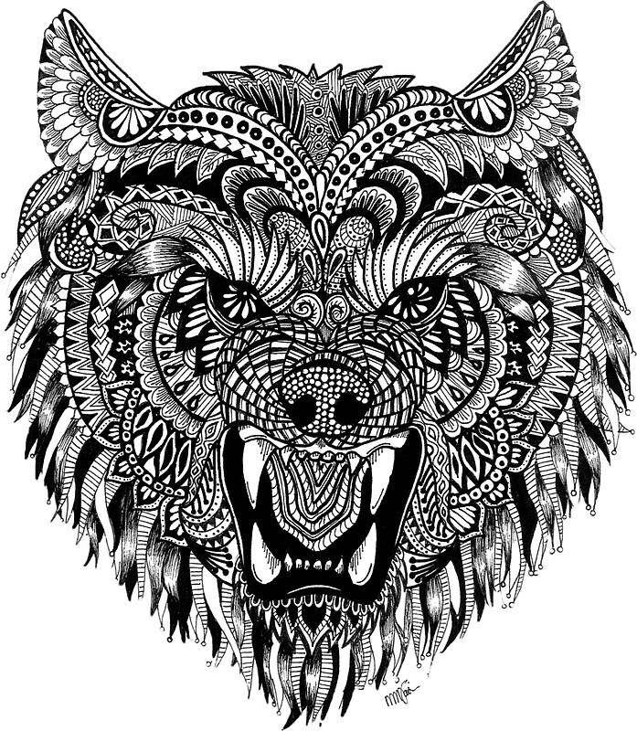 Mandala Wolf Stickers By Melanie Vasina Redbubble