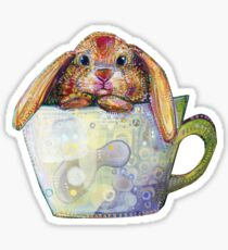 Bunny in a teacup painting - 2010 Sticker