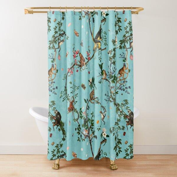 Monkey World Aqua Shower Curtain
