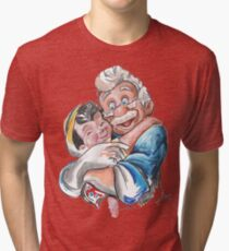 Charcoal and Oil - Geppetto and Pinocchio Tri-blend T-Shirt