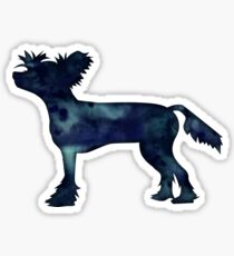 Chinese Crested Black Watercolor Silhouette Sticker