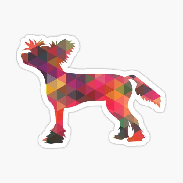 Chinese Crested Colorful Geometric Pattern Silhouette Multi Sticker