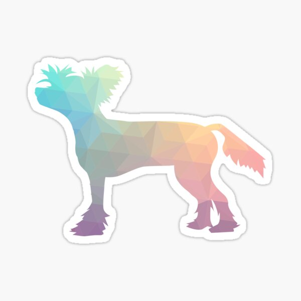 Chinese Crested Colorful Geometric Pattern Silhouette - Pastel Sticker