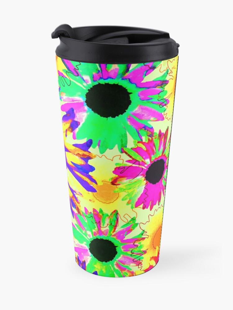 Alternate view of Wildflower Floral - Sunny Yellow Travel Mug