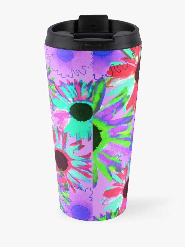 Alternate view of Wildflower Floral - Bright Mauve Travel Mug