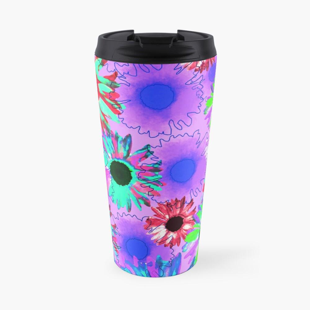 Wildflower Floral - Bright Mauve Travel Mug