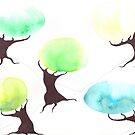 Watercolor Trees by Megan Stone