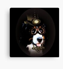 5.Cheerful Steampunk Bernese Mountain Dog with Hat and Goggles Canvas Print