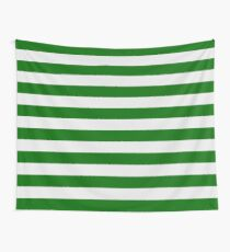 Green and White Hoops Banded Design Wall Tapestry