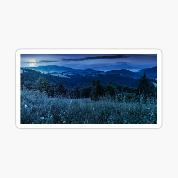 panorama of a meadow in mountains at night Sticker