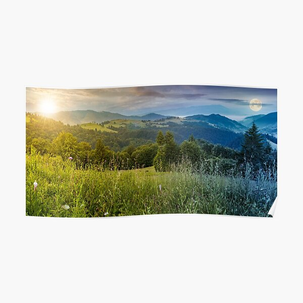 time change above the meadow in mountains Poster