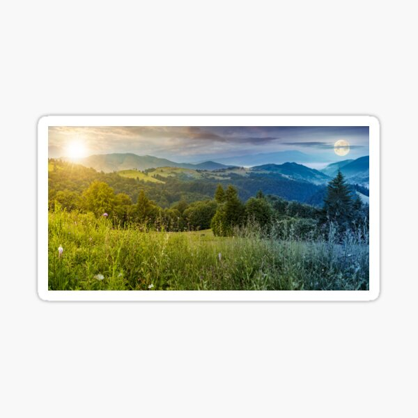 time change above the meadow in mountains Sticker