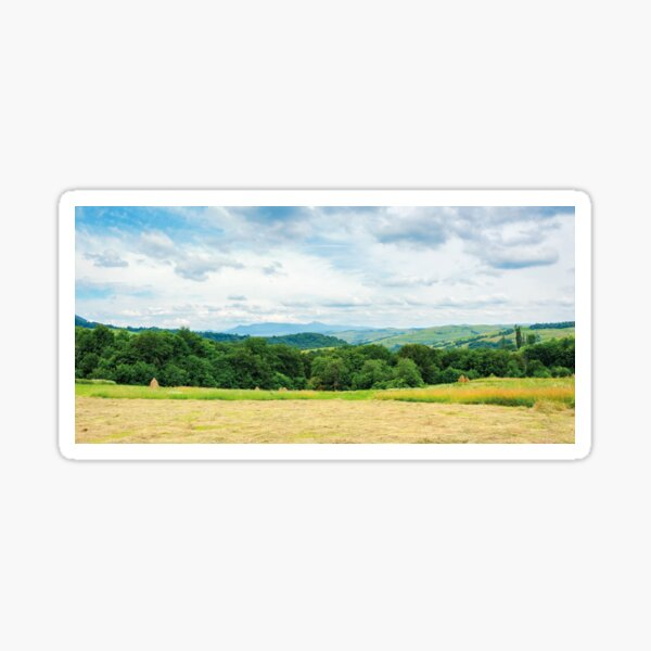 panorama of a countryside in mountain on a cloudy day Sticker