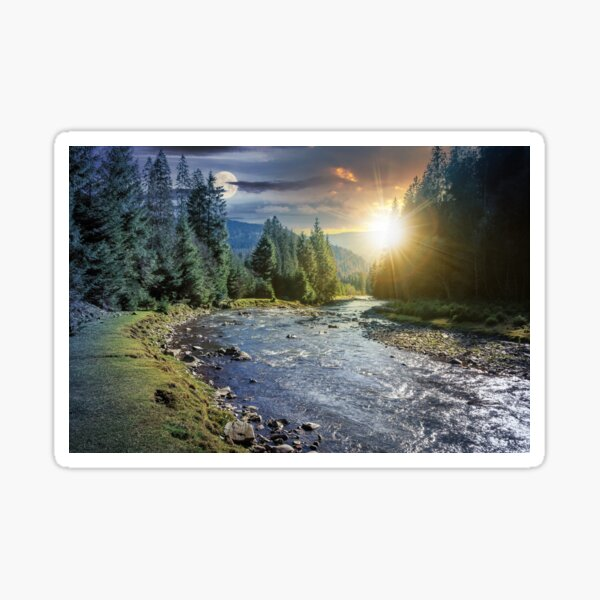 time change above mountain river in forest Sticker