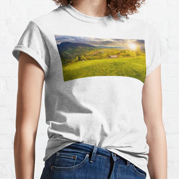 dandelions on rural field in mountains at sunset Classic T-Shirt