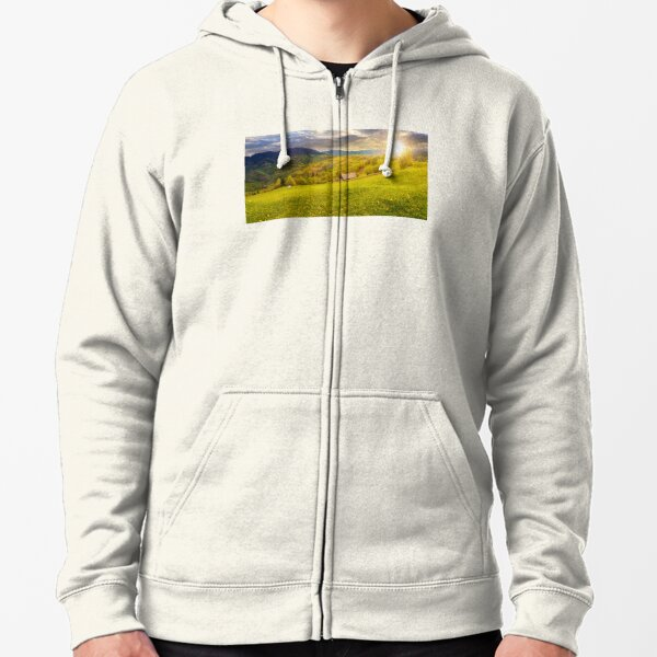 dandelions on rural field in mountains at sunset Zipped Hoodie