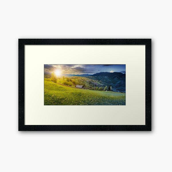 time change above the rural field in mountains Framed Art Print