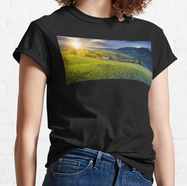 time change above the rural field in mountains Classic T-Shirt