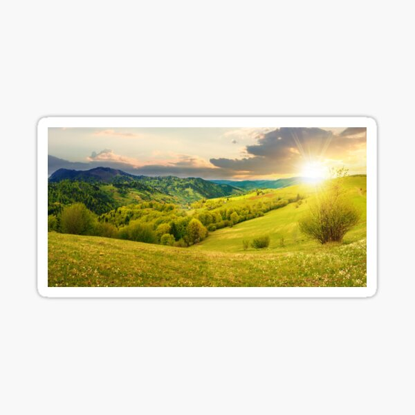 countryside in mountain at sunset Sticker
