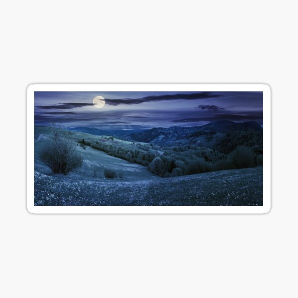 countryside in mountain at night Sticker