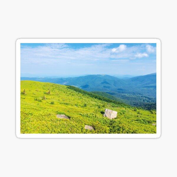 mountain landscape on summer morning Sticker
