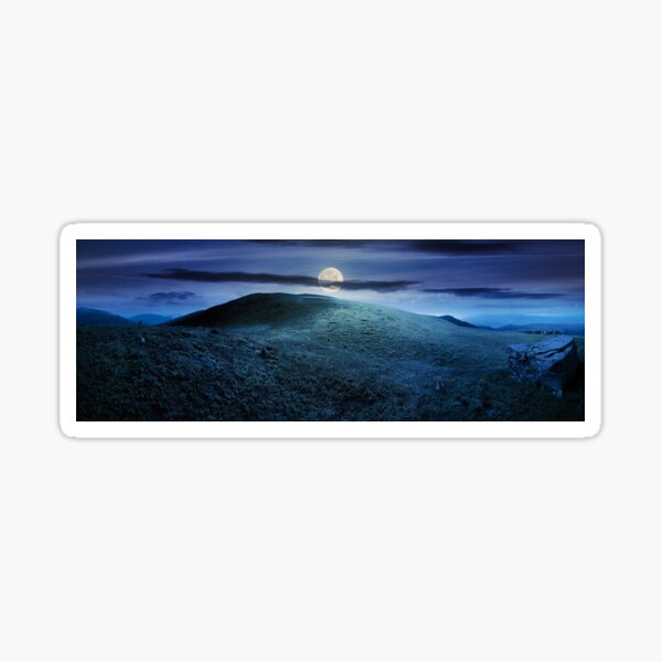 panorama with rock on the grassy hill in mountains Sticker
