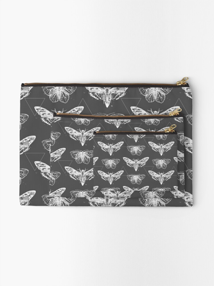 Alternate view of Geometric Moths - inverted Zipper Pouch