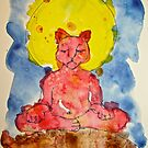 RED ZAZEN CAT by dkatiepowellart