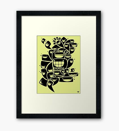 Happy Squiggles - 1-Bit Oddity - Black Version Framed Print