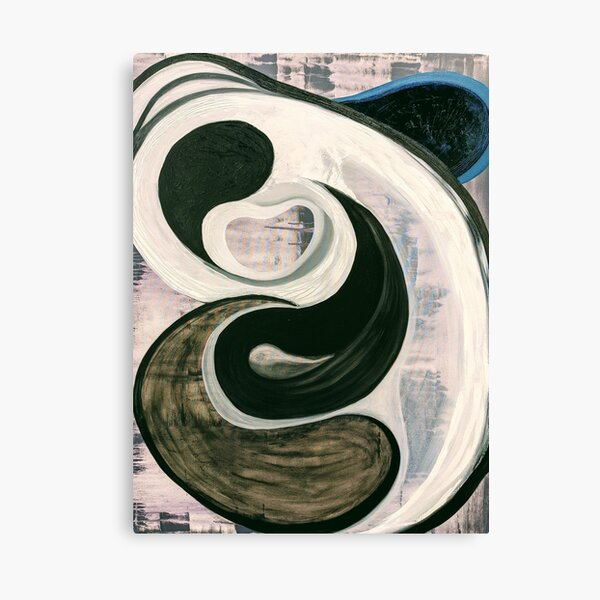 black and white abstract art painting Canvas Print