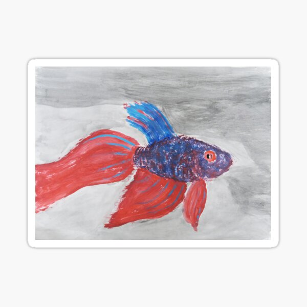 Red and Blue Vibrant Beta Fish Sticker