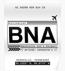 BNA Nashville International Airport Call Letters Poster
