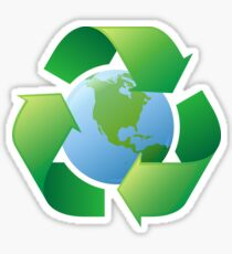 Earth recycling symbol stickers and tote bag Sticker