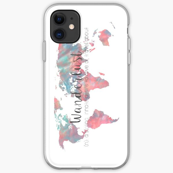 Wanderlust Definition Teal and Pink watercolor map iPhone Soft Case