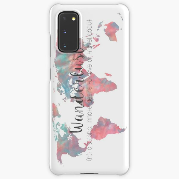 Wanderlust Definition Teal and Pink watercolor map Samsung Galaxy Snap Case