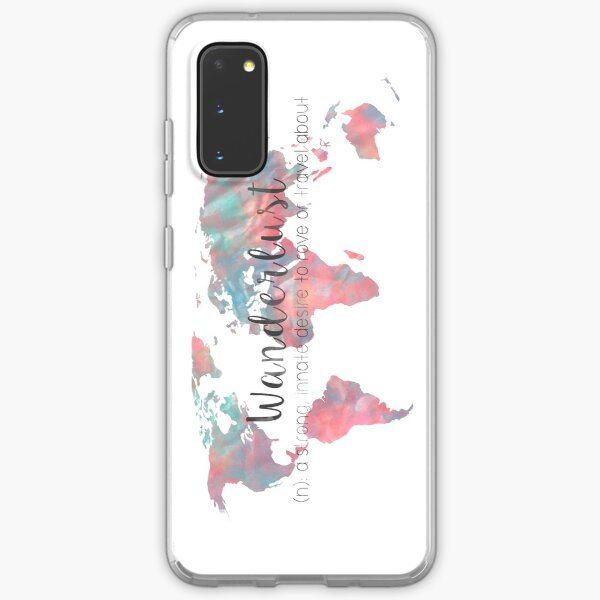 Wanderlust Definition Teal and Pink watercolor map Samsung Galaxy Soft Case